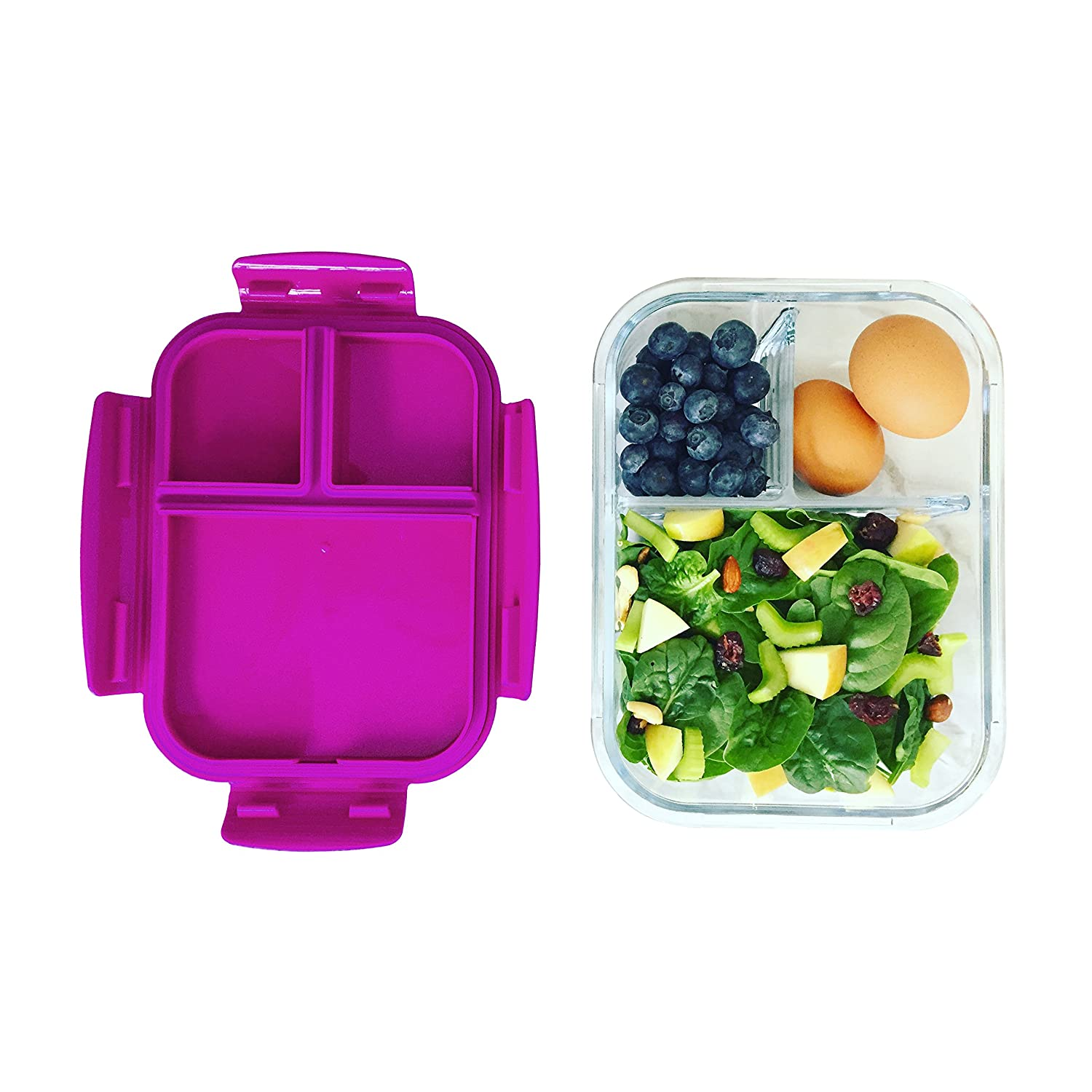Amazoncom Bentgo Glass (Purple)  Leak Proof, 3 Compartment Oven Safe Glass Lunch