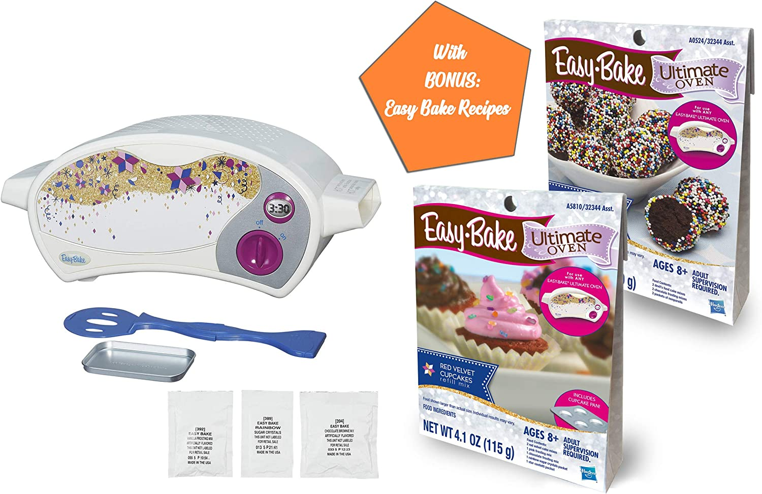 Easy Bake Ultimate Oven with Easy Bake Refill Bundles, Gift Ideas for Boys and Girls, Little Chef Gifts and Holiday Presents (Oven + Choco Truffle & Red Velvet Mixes)