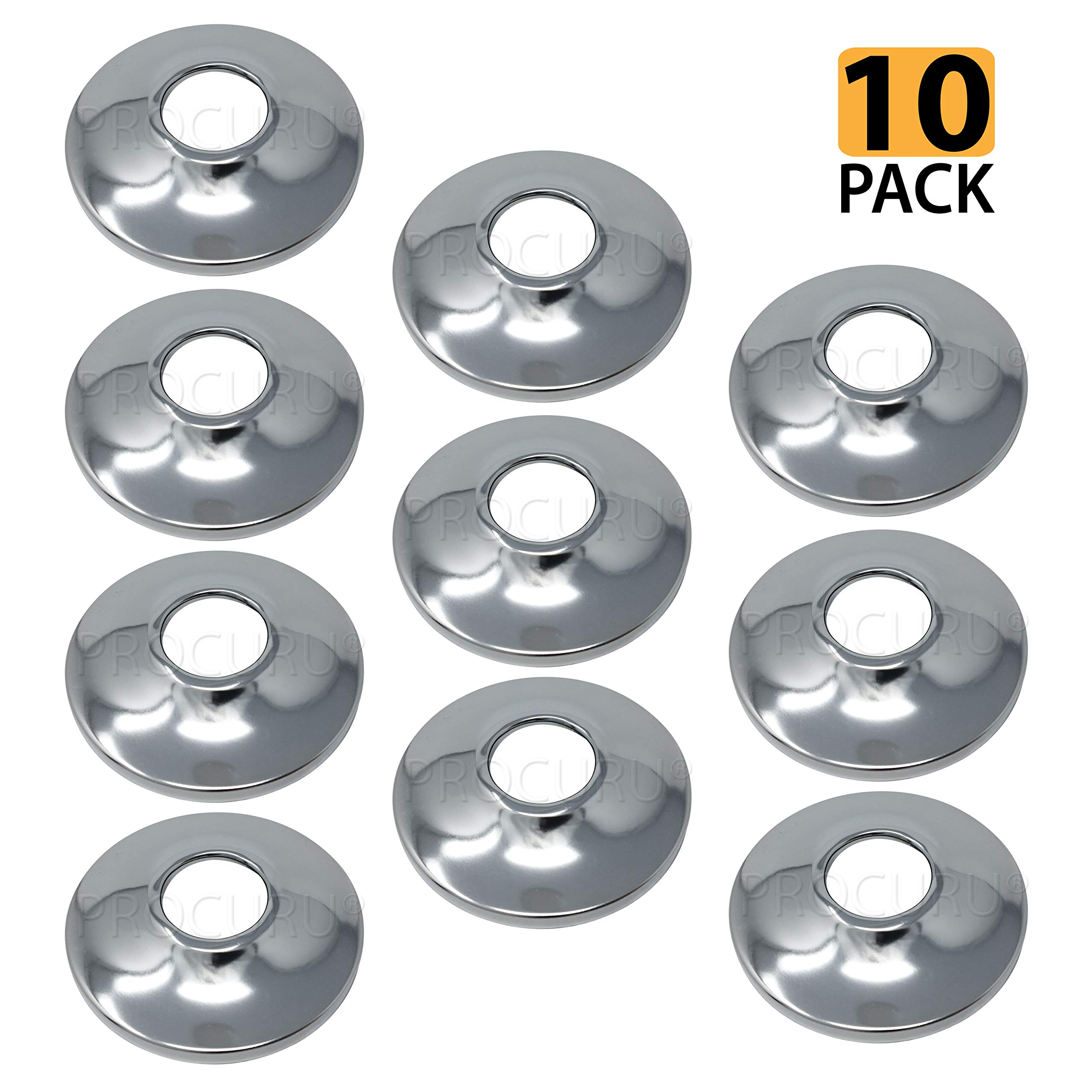 [10-Pack] PROCURU 1/2-Inch CTS Escutcheon Flange Plate Pipe Cover, Chrome-Plated Steel with SureGrip, for 1/2'' Copper Pipe by PROCURU (Image #1)