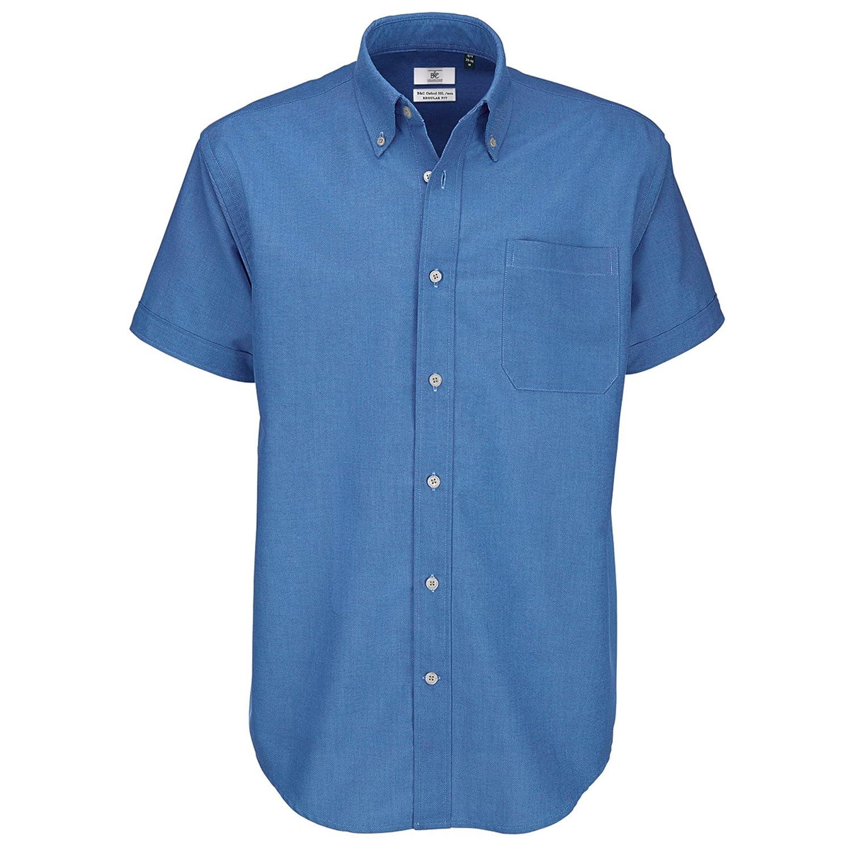 TALLA XL. B&C - Camisa de manga corta Modelo Oxford (Tallas grandes) para Hombre Caballero - Fiesta/Trabajo/Eventos importantes