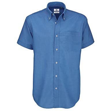 95705ec7c7c86e B&C Men's Oxford Short Sleeve Shirt Casual: Amazon.co.uk: Clothing
