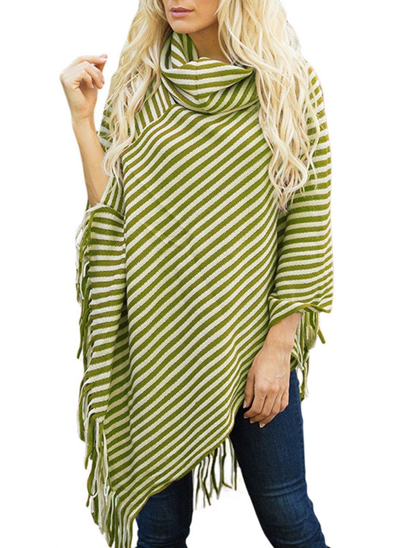 Simplee Plus Women's Turtleneck Stripe Tassel Loose Shawl Poncho Cape Cloak