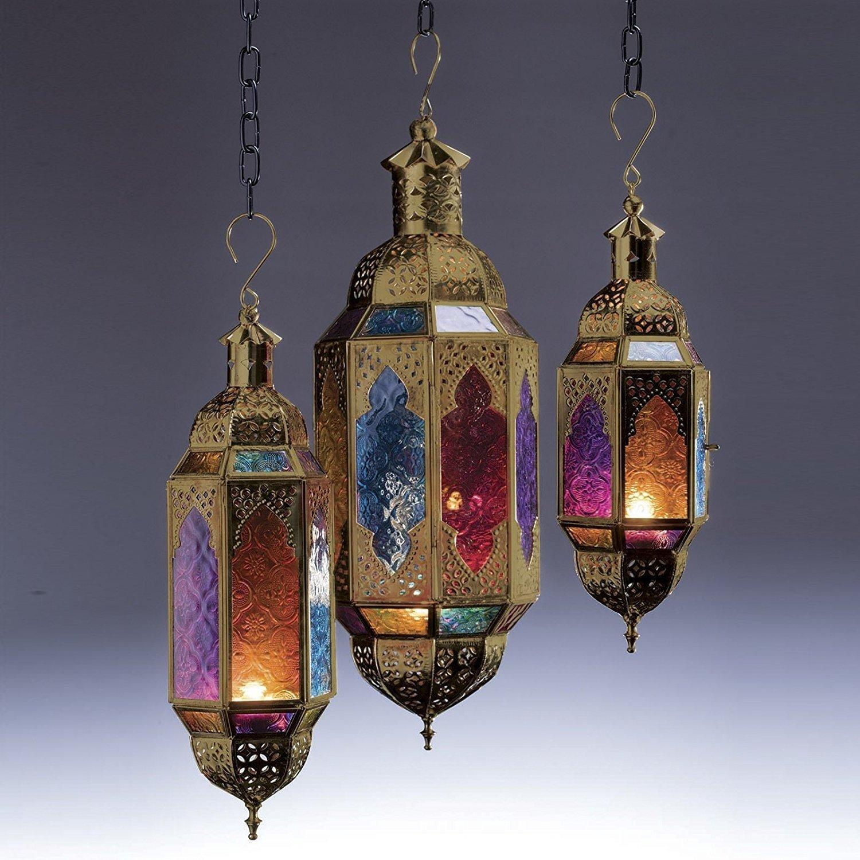 The Indian Arts Marokkanischer Stil Gold Aufhängen Multi Farbe Glas Laterne (klein)