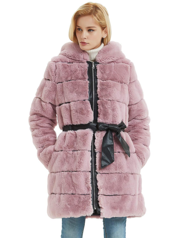 Bellivera Abrigo para Invierno de Piel Sintética con Capucha y 2 Bolsillos, 2 Colores (