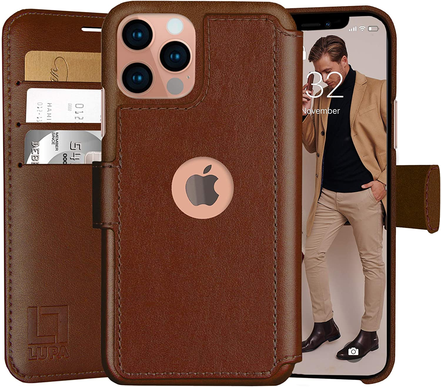 LUPA iPhone 11 Wallet Case -Slim iPhone 11 Flip Case with Credit Card Holder, for Women & Men, Faux Leather i Phone 11 Purse Cases with Magnetic Closure, Caramel Brown…