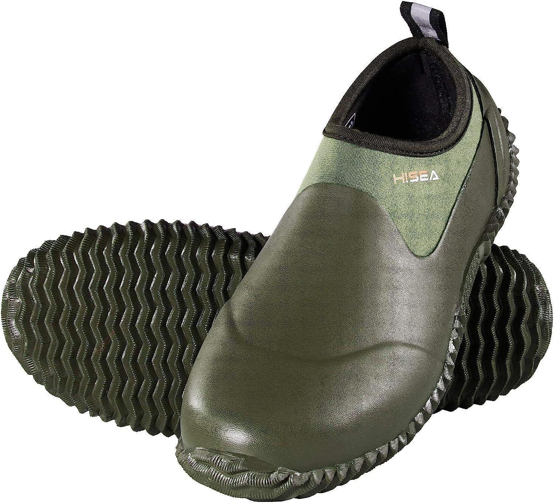 HISEA Unisex Waterproof Garden Shoes Ankle Rain Boots Mud Muck Rubber Slip-On Shoes for Women Men Outdoor