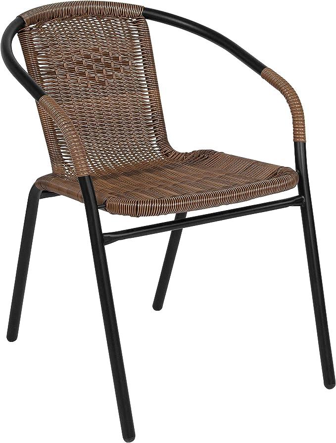 Flash Furniture Medium Brown Rattan Indoor Outdoor Restaurant Stack Chair Furniture Decor Amazon Com