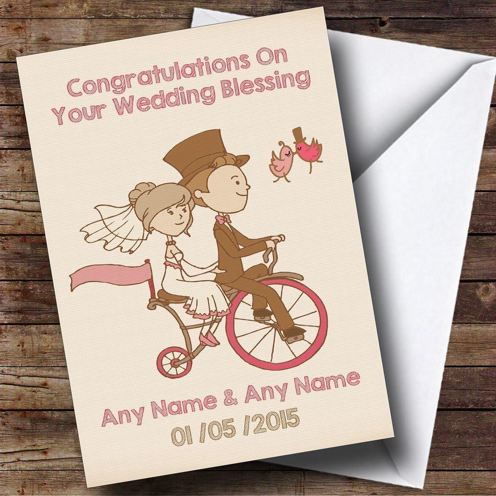 Pretty Vintage bicicleta personalizada boda bendición tarjeta ...