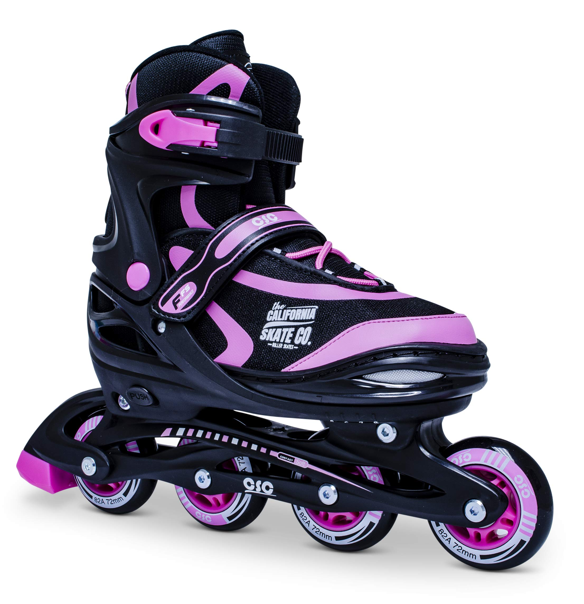 California Skate Co Zuma Kids Adjustable Inline Skates (Black and Pink, 1-4)