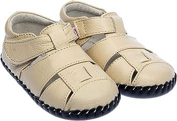 e6504e3a6a466 Freycoo Chaussures Bébé Garçon Fille Toddler Semelle Souple en Cuir  véritable Sandales en crème