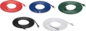 AmazonBasics Snagless RJ45 Cat-6 Ethernet Patch Internet Cable - 15-Foot, Black/Red/Blue/White/Green, 5-Pack