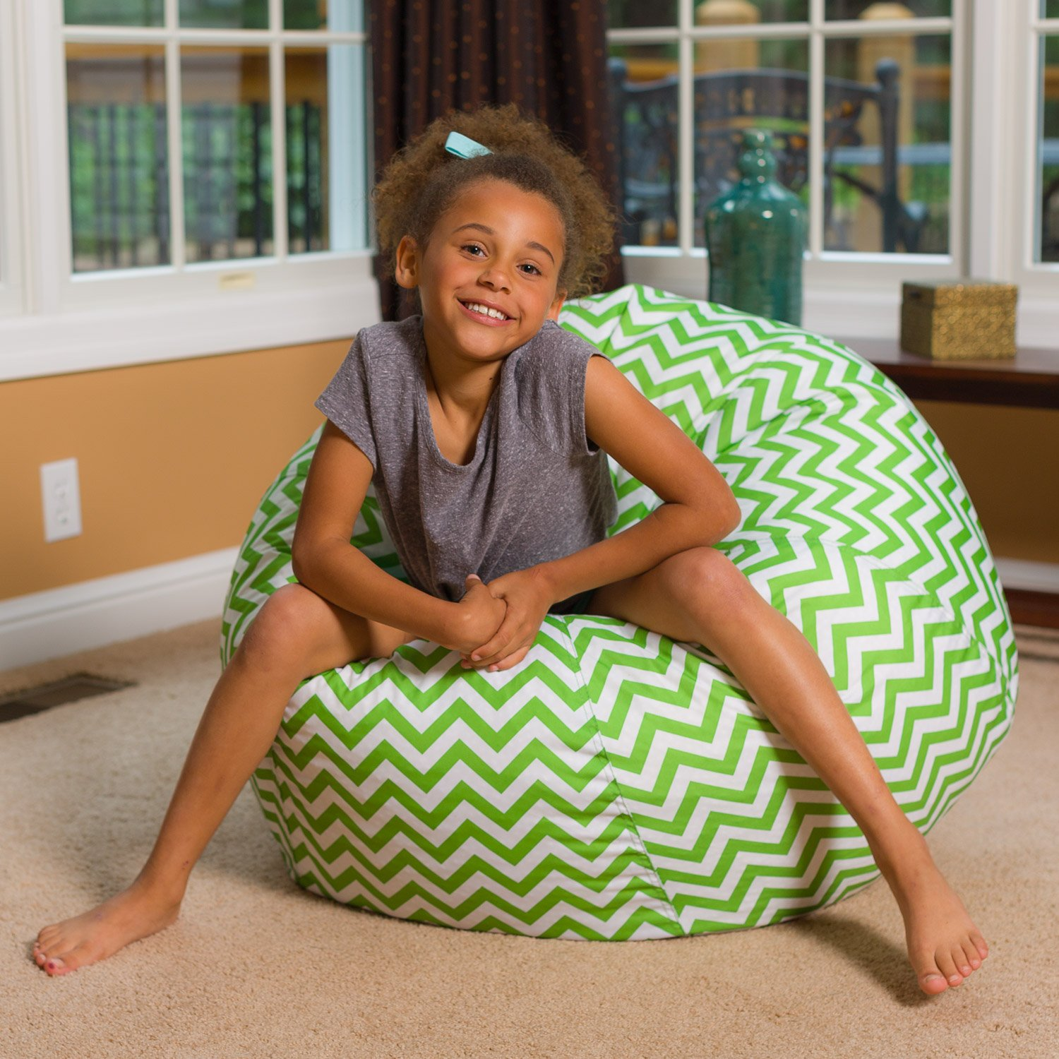 Big Comfy Bean Bag Chair: Posh Large Beanbag Chairs for Kids, Teens and Adults - Polyester Cloth Puff Sack Lounger Furniture for All Ages - 27 Inch - Chevron Green and White by Posh Beanbags (Image #4)