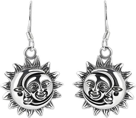 925 Sterling Silver Celestial Sun Post Earrings