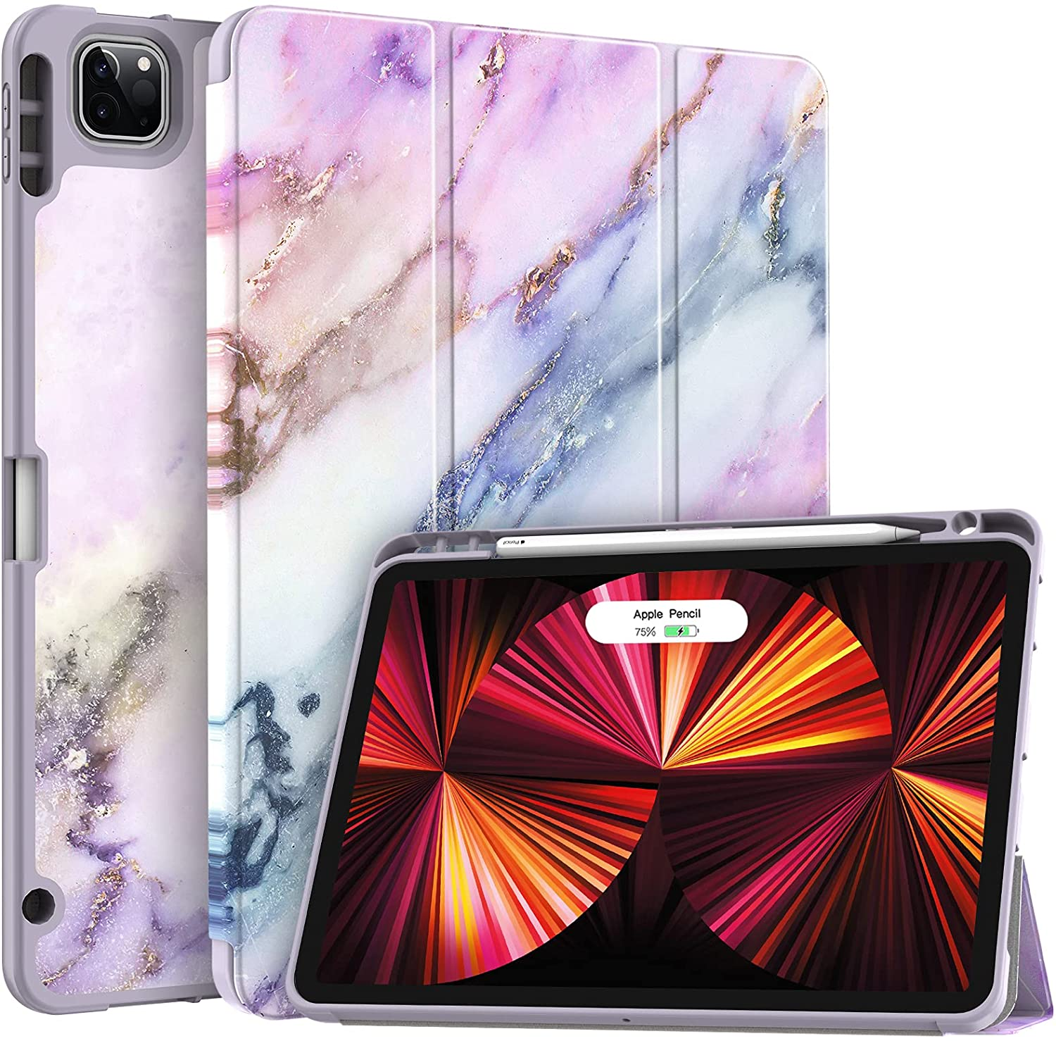 Soke New iPad Pro 11 Case 2021 with Pencil Holder - [Full Body Protection + 2nd Gen Apple Pencil Charging + Auto Wake/Sleep], Soft TPU Back Cover for 2021 iPad Pro 11 inch(Pink Marble)
