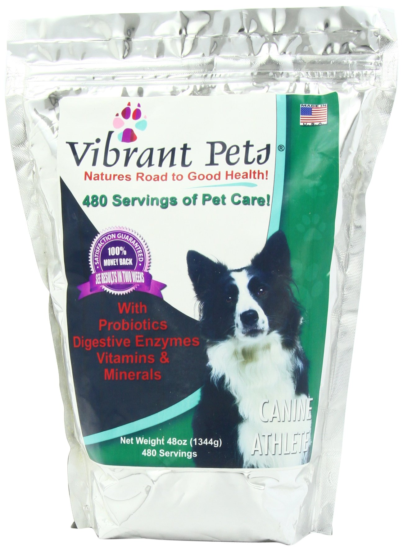 Vibrant Pets Canine Athlete (Advanced) | Produces Beautiful, Shiny, Lustrous Coats | Gives Your Dog Youthful Puppy Energy Again | Strengthens Joints & Muscles | All-in-one Nutrition