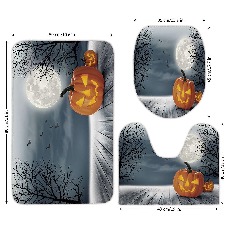 3 Piece Bathroom Mat Set,Halloween,Cold Foggy Night Dramatic Full Moon Pumpkins on Wood Board Trees Print,Grey Orange Black,Bath Mat,Bathroom Carpet Rug,Non-Slip
