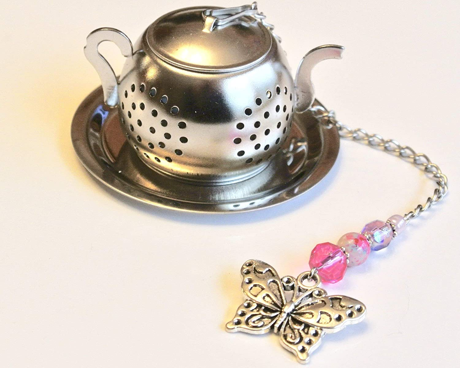 Butterfly Tea Infuser with Pink & Lavender Beads
