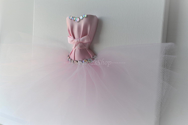 Baby shower gift. Princess canvas Tutu dress wall art Pink and white princess dress canvas