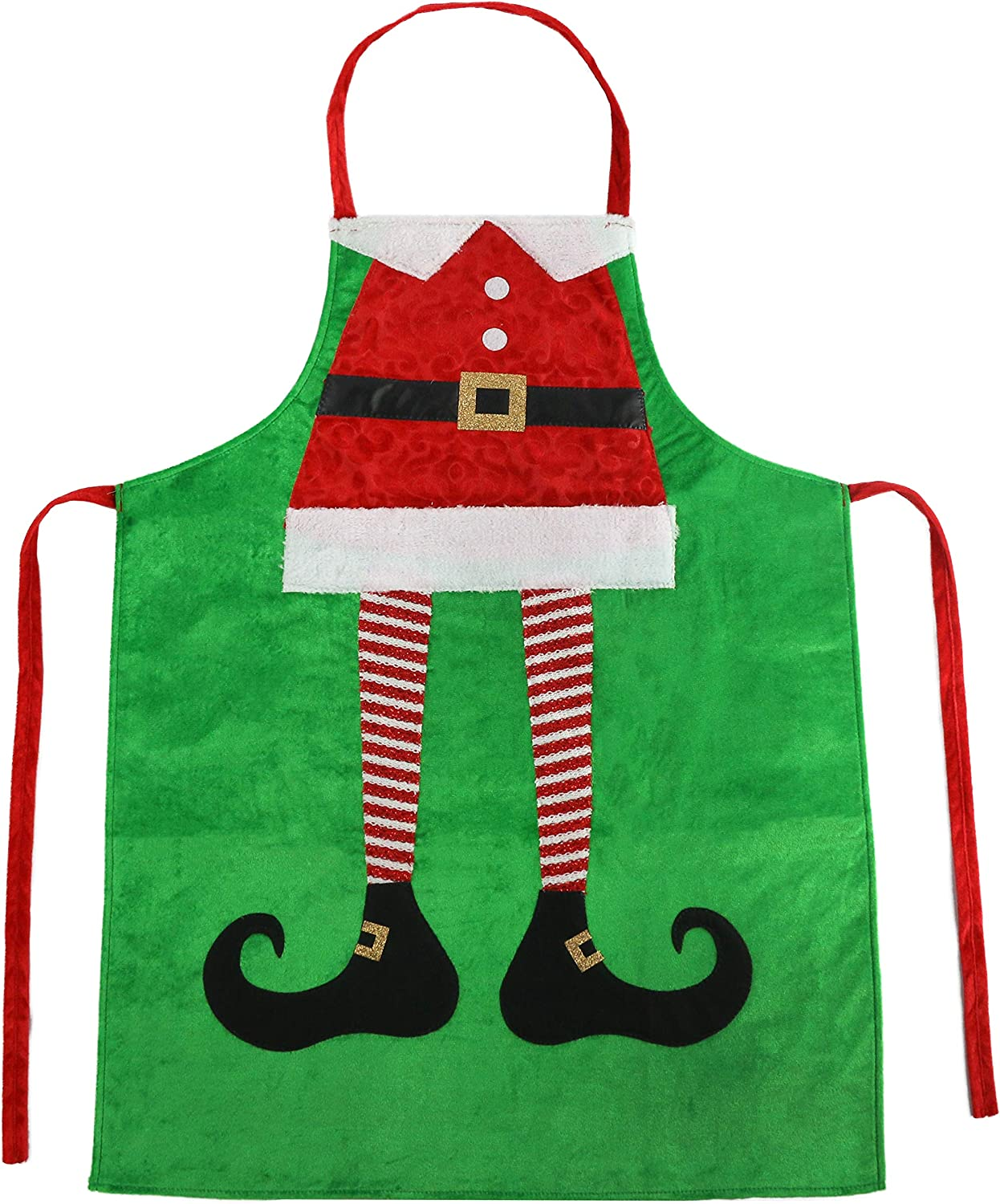 Athoinsu Christmas Apron Elf Leg Kitchen Chef Aprons Xmas Holiday Costume Party Supplies Gifts for Men Women Good for Cooking Gardening Baking  Green  2340