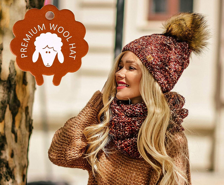 Beige Bonnet MFAZ Morefaz Ltd Ensemble Bonnet et /écharpe Femme Tricot/ée Bonnet Laine Alpaga dhiver Wool Polaire