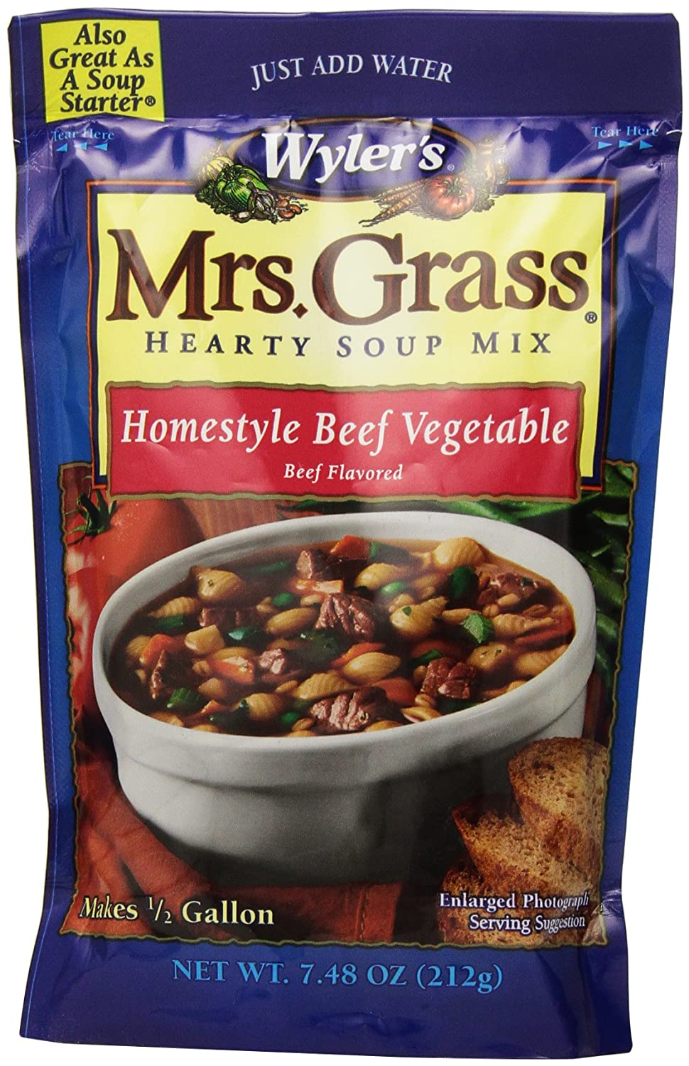 Amazon Com Mrs Grass Hearty Soup Mix Homestyle Beef Vegetable 7 48 Ounce Pack Of 8 Soup Starter Grocery Gourmet Food