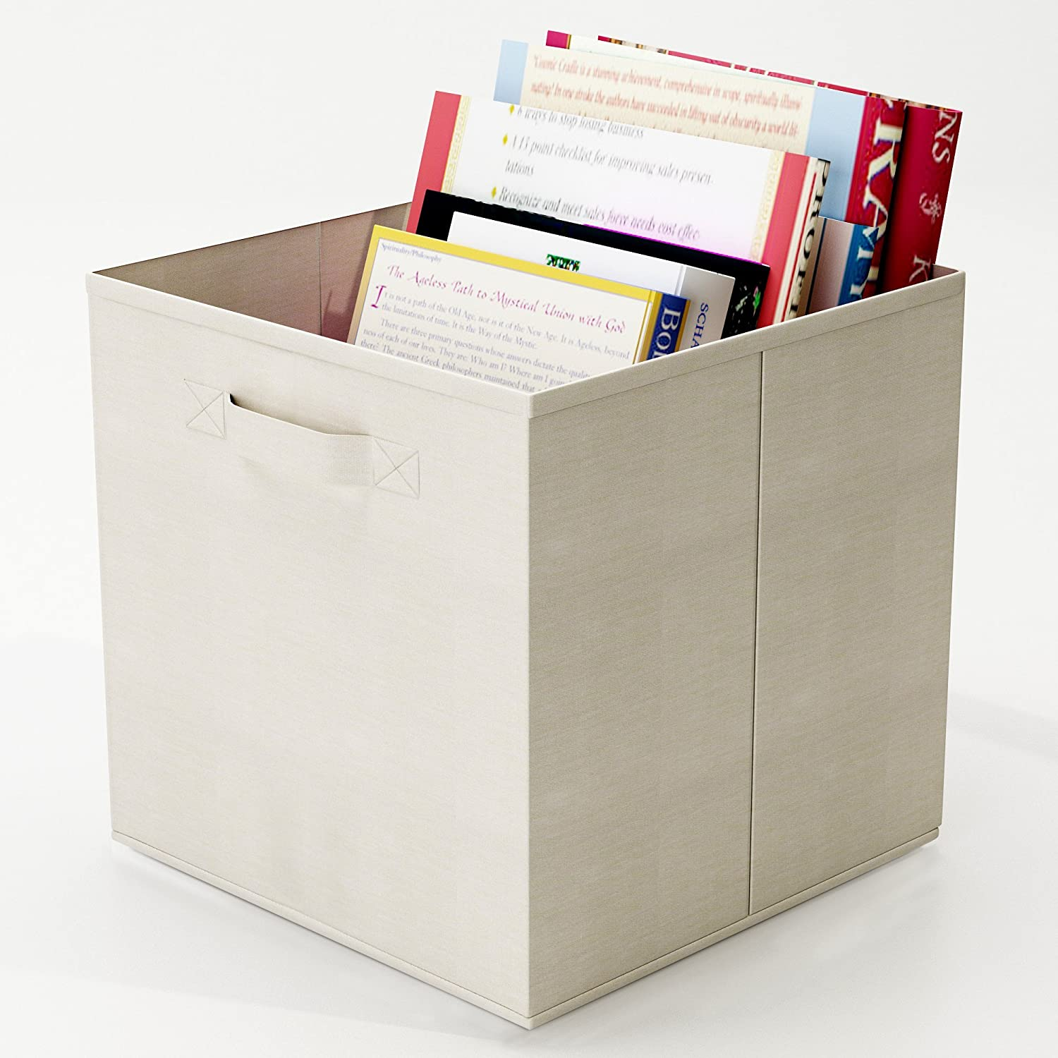 Amazon.com   Closet Organizer   Fabric Storage Basket Cubes Bins   6 Beige  Cubeicals Containers Drawers By Home Complete