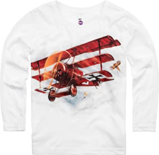 product image for Shirts That Go Little Boys' Long Sleeve Red Baron Airplane T-Shirt