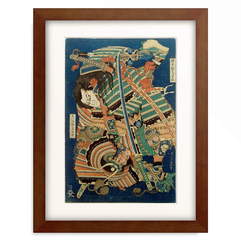 葛飾北斎 Katsushika Hokusai 「鎌倉の權五郎景政 鳥の海彌三郎保則」 額装アート作品 L(額内寸 509mm×394mm) 05.木製額 22mm(ブラウン) B07PTX7SBT