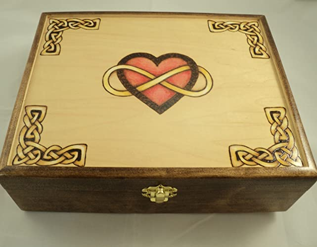 Amazoncom Celtic Knotwork Infinity Heart Jewelry Box Solid Maple