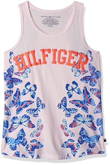 8da43451 Tommy Hilfiger Girls' Big Graphic Tank Top, Blushing Bride Butterfly, Small