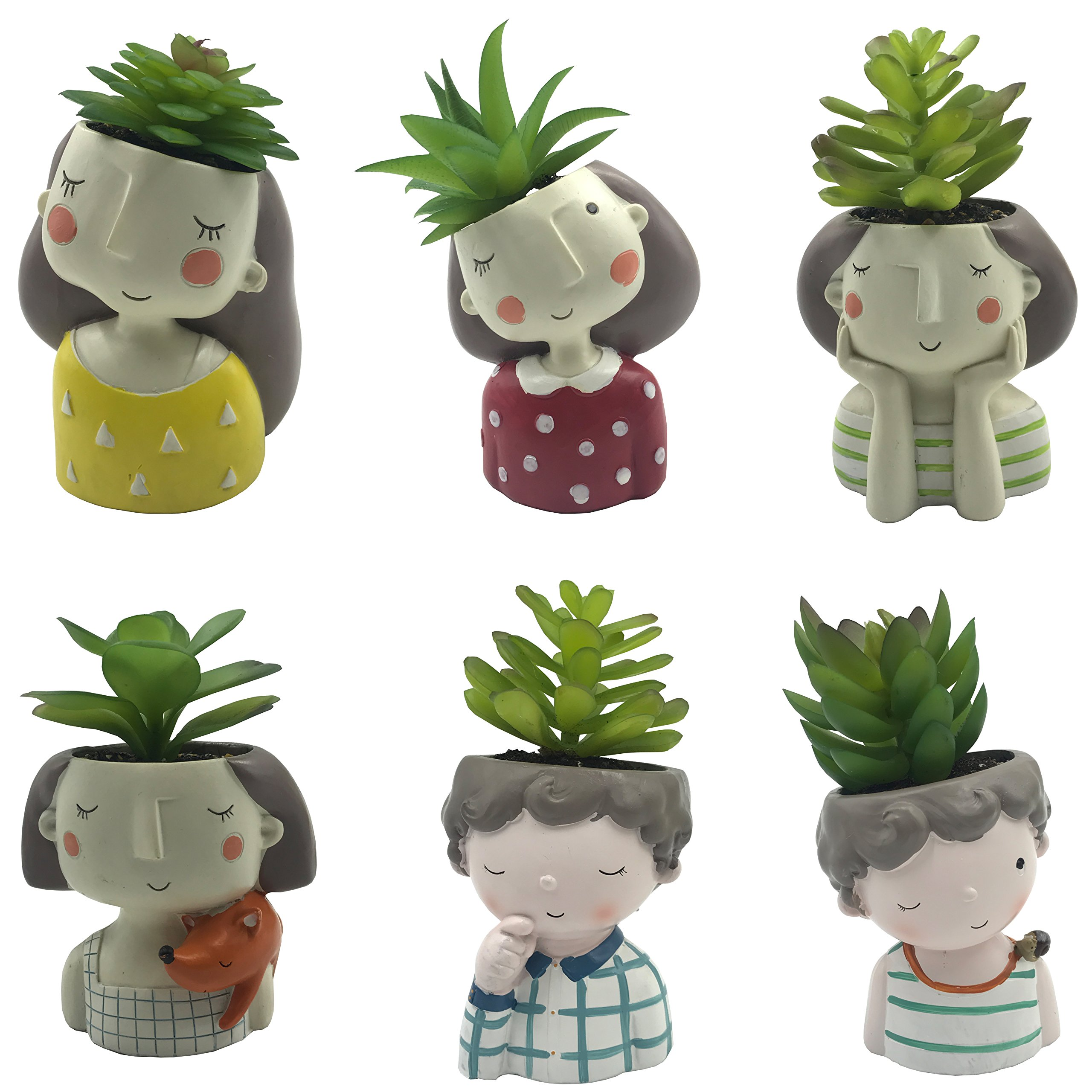 6 PCS Set Cute Flower Girls and Curly Hair Boys Shaped Succulent Cactus Flower Pot/Plant Pots/Planter/Container for Home Garden Office Desktop Decoration (Plants Not Included)