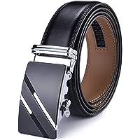 Men's Belt,DCFlat Genuine Leather Ratchet Belt for Men with Slide Buckle,Trim to Fit