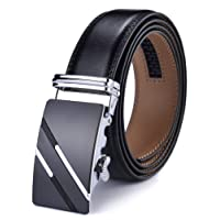 Men's Belt,DCFlat Genuine Leather Ratchet Belt for Men with Slide Buckle,Trim to Fit