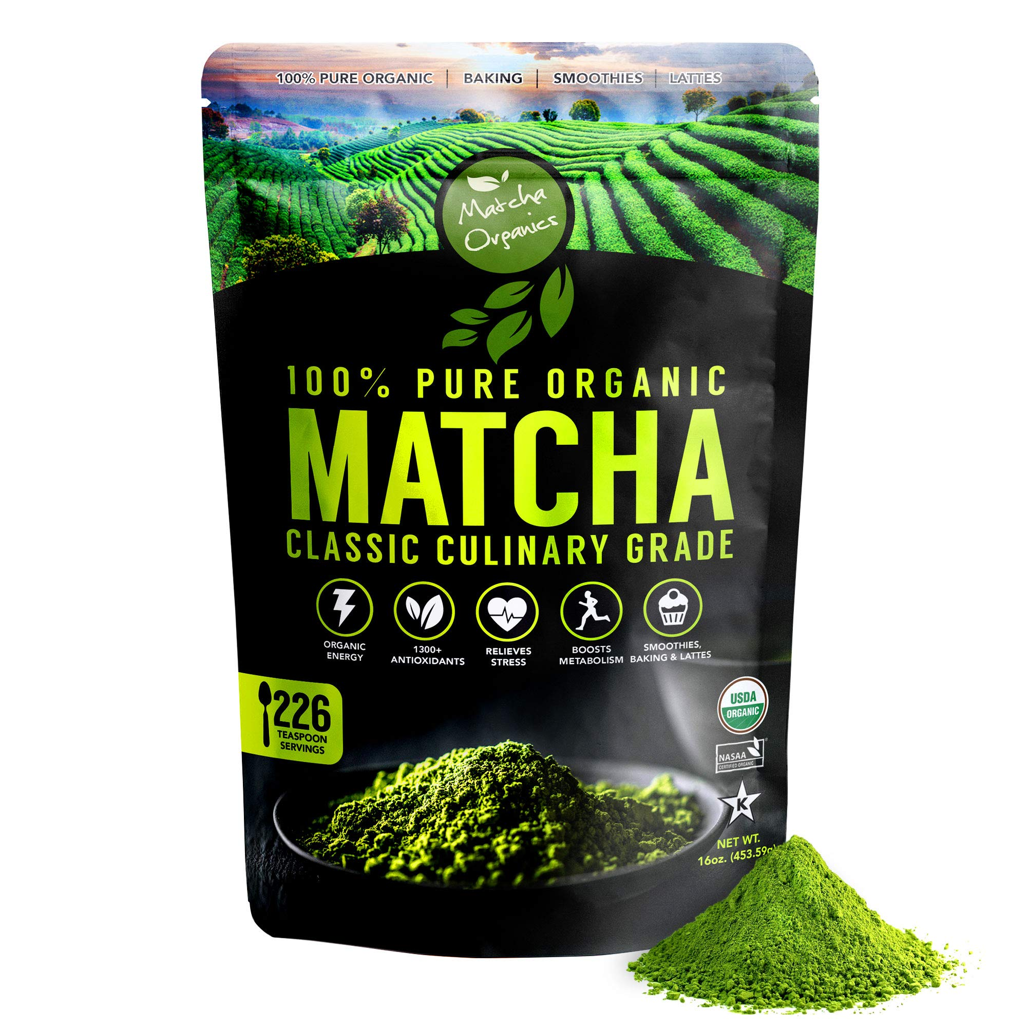 Matcha Organics Classic Matcha Green Tea Powder Extract - 100% Pure USDA Organic Culinary Grade - Bulk Starter Bag 16oz / 453g - Latte Mix, Smoothies, Baking Foods - FREE Top 100 Matcha Recipes Ebook by Matcha Organics