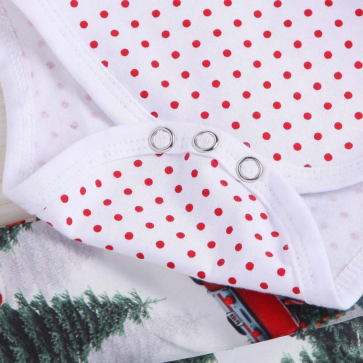 2Pcs Toddler Girls Polka Dot Long Sleeve Romper Top+Suspender Skirt Outfits