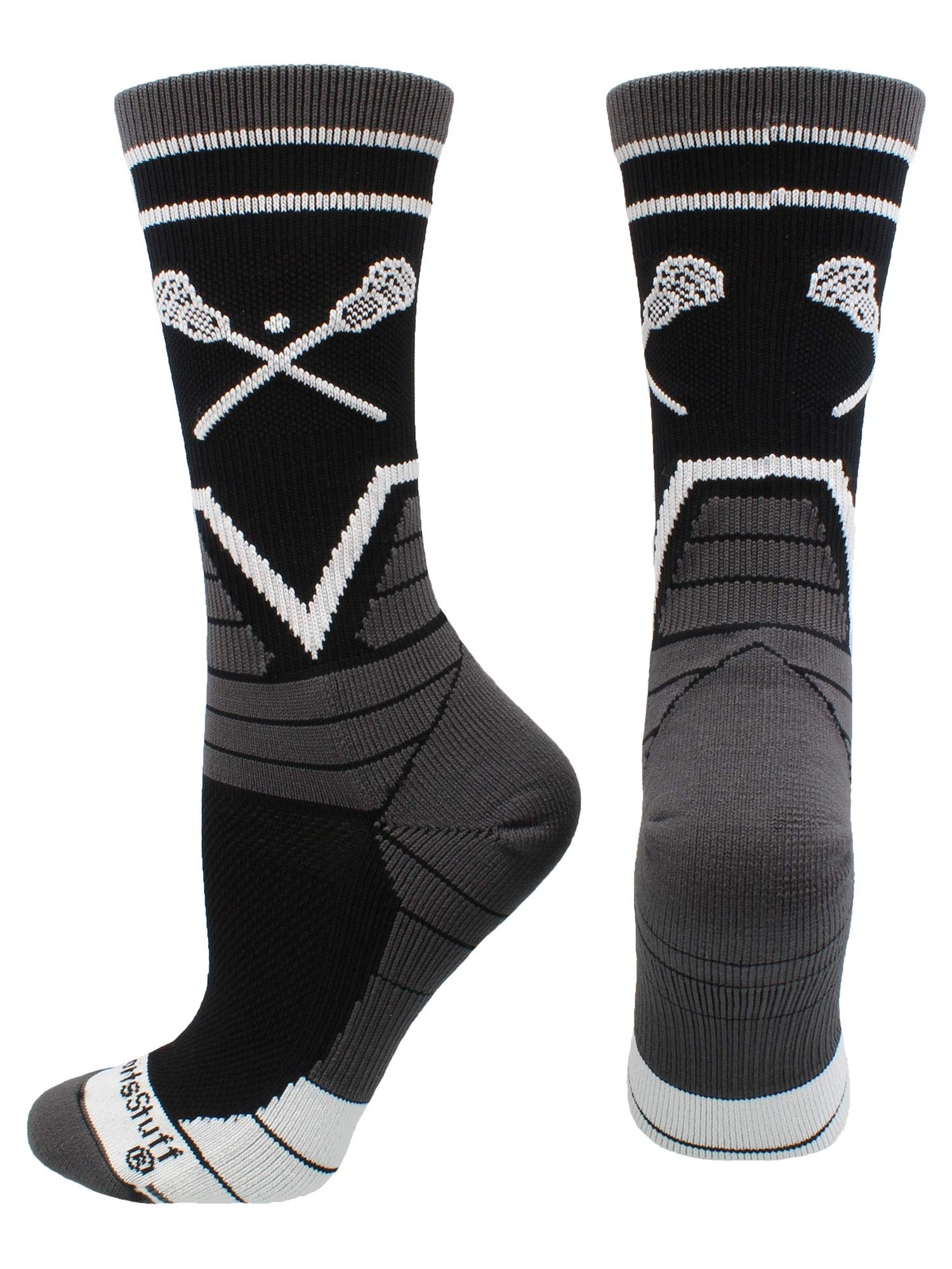 MadSportsStuff Lacrosse Victory Crew Socks (Black/Graphite/White, Medium)