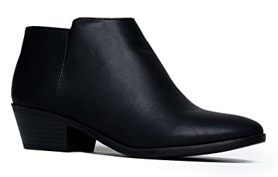 J. Adams Women's Black Pu Low Heel Western Ankle Bootie - 6.5 B(M) US