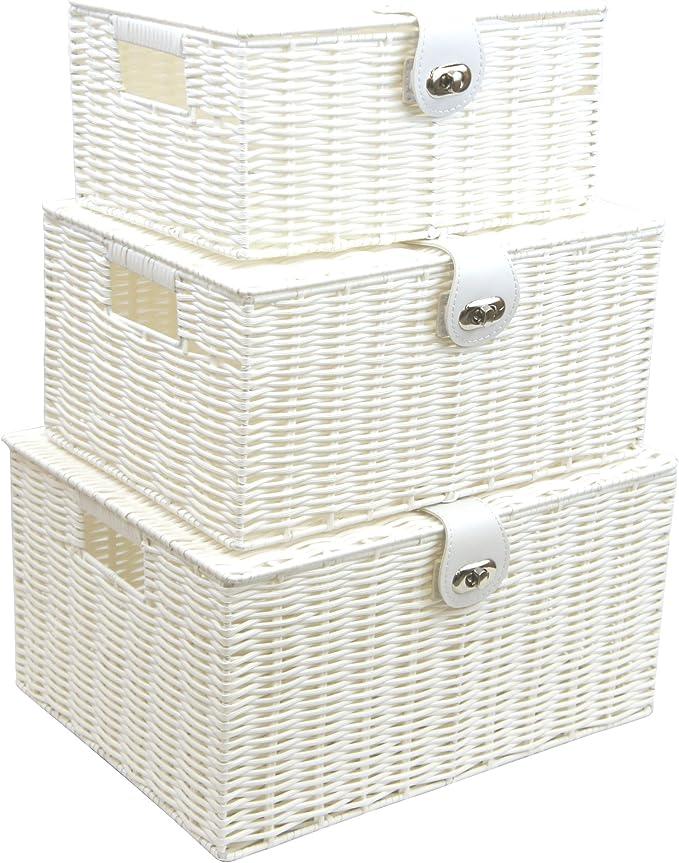 Amazon.com: Arpan Set of 3 Resin Woven Utility Storage Basket Box With Lid & Lock (White): Home & Kitchen