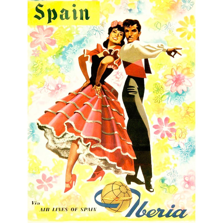 TRAVEL TOURISM SPAIN FLAMENCO DANCE DRESS AIRLINE FLOWERS PRINT POSTER BB9947