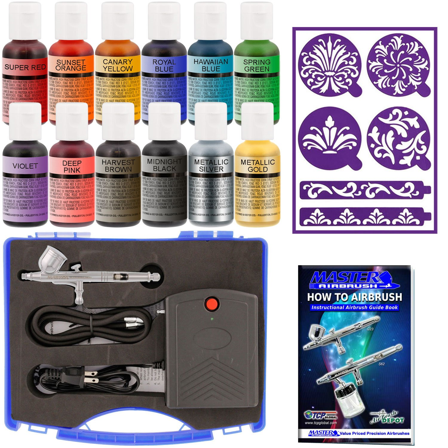 Cake Decorating Airbrush Kit with G23 Airbrush, Master Mini Compressor TC-22, Air Hose, Stick-N-Stay Stencils & 12 Color Chefmaster Food Coloring Set, .7 fl ounce Airbrush Depot KIT-SP11-22
