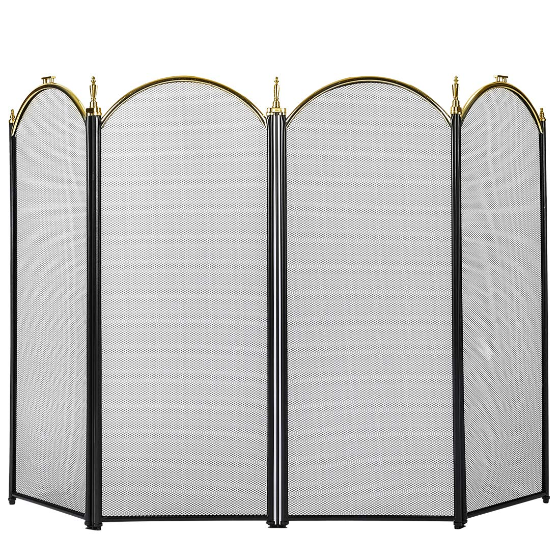 VIVOHOME 52 Inch Wide Iron Fence 4 Panel Decorative Black Mesh Fireplace Screen by VIVOHOME