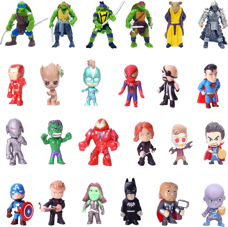 Superhero Mini Action Figures Sets for Kids, Cupcake Toy Set to Birthday Party, Boy's Anime Hero Figures Set, Theme Party Dress up Toy (24-SPSET)