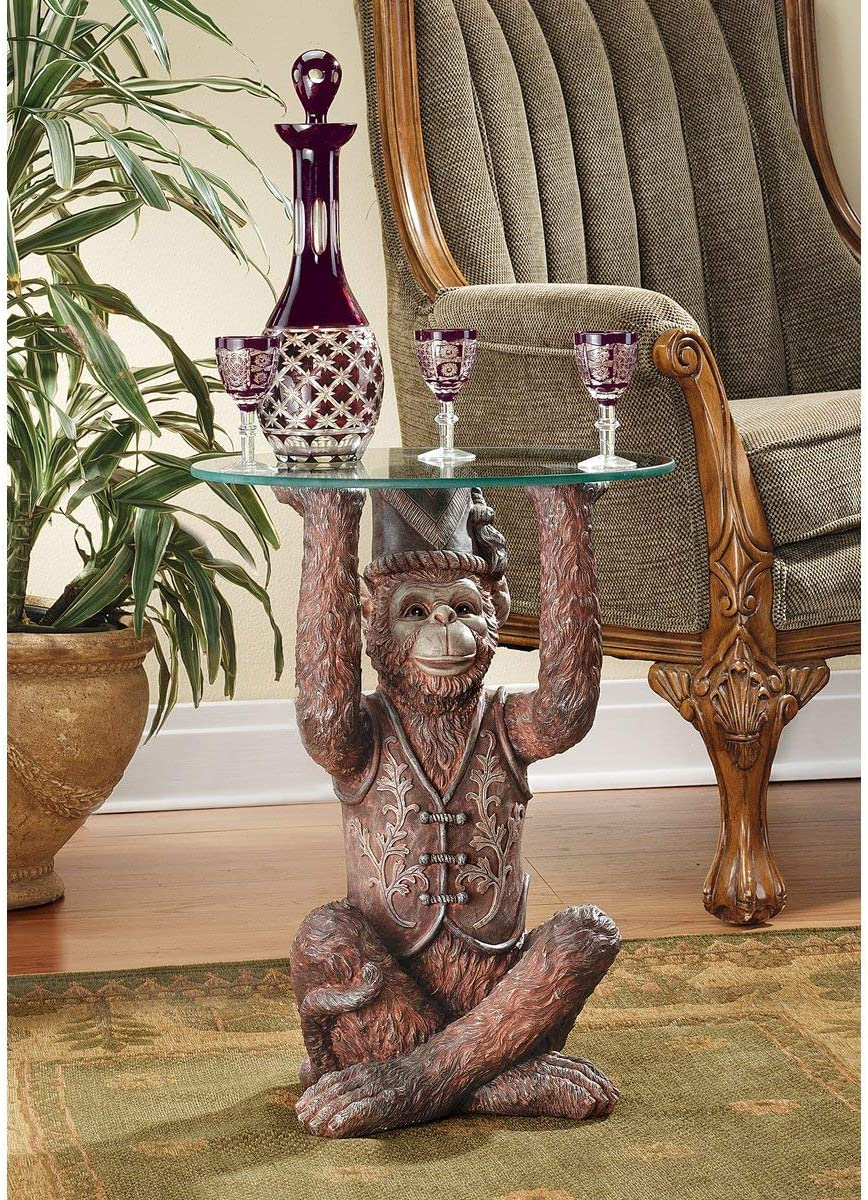 Design Toscano Exotic Decor Moroccan Monkey Business Glass Topped Side Table, 21 Inch, Full Color