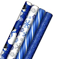 Image Arts Blue Christmas Wrapping Paper with Cut Lines on Reverse (4 Rolls: 120 sq. ft. ttl) Snowmen, Snowflakes, Blue and White Stripes