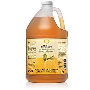 Castile Soap Liquid Lemon - 1 Gallon - Vegan & Pure Certified Organic Soap - Concentrated Non Drying All Natural Formula Good for Sensitive Skin