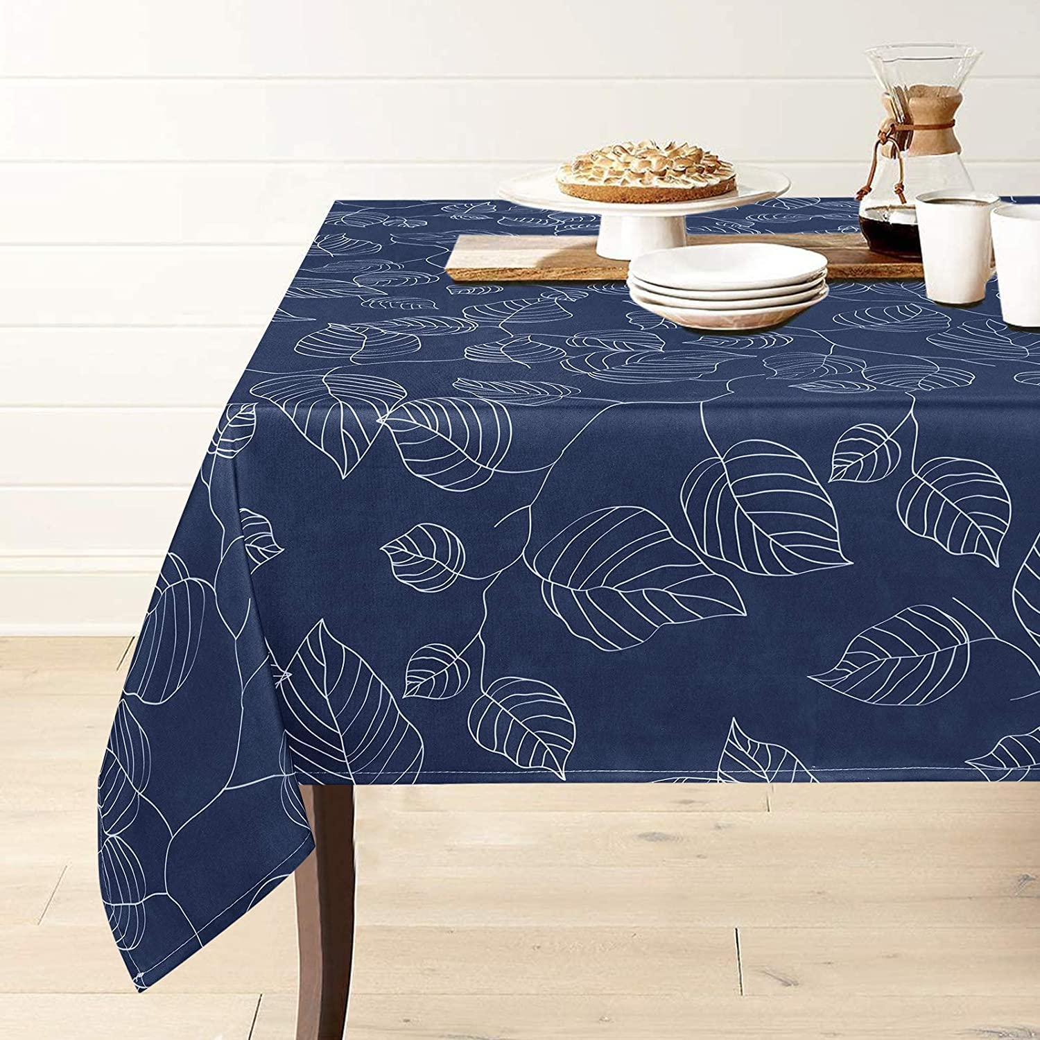 Blue Tablecloth, Leaf Print Table Cloth, Waterproof Wrinkle Free Tablecloth for Kitchen Dining Room Picnic Decoration, Spillproof Tablecloth Square 55 x 55 inch