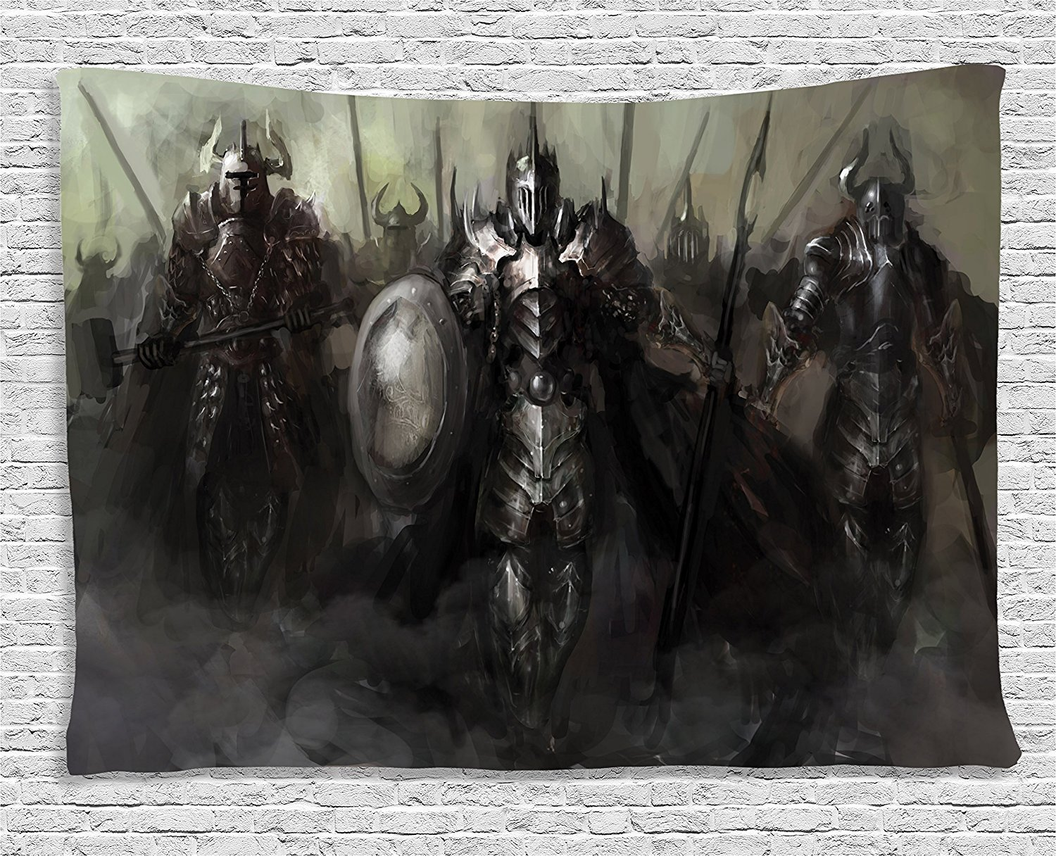 Ambesonne Fantasy World Decor Collection, General Leading His Army against the Enemy Evil Divine Power Nether World Soldiers Print, Bedroom Living Room Dorm Wall Hanging Tapestry, 80 X 60 Inches, Grey