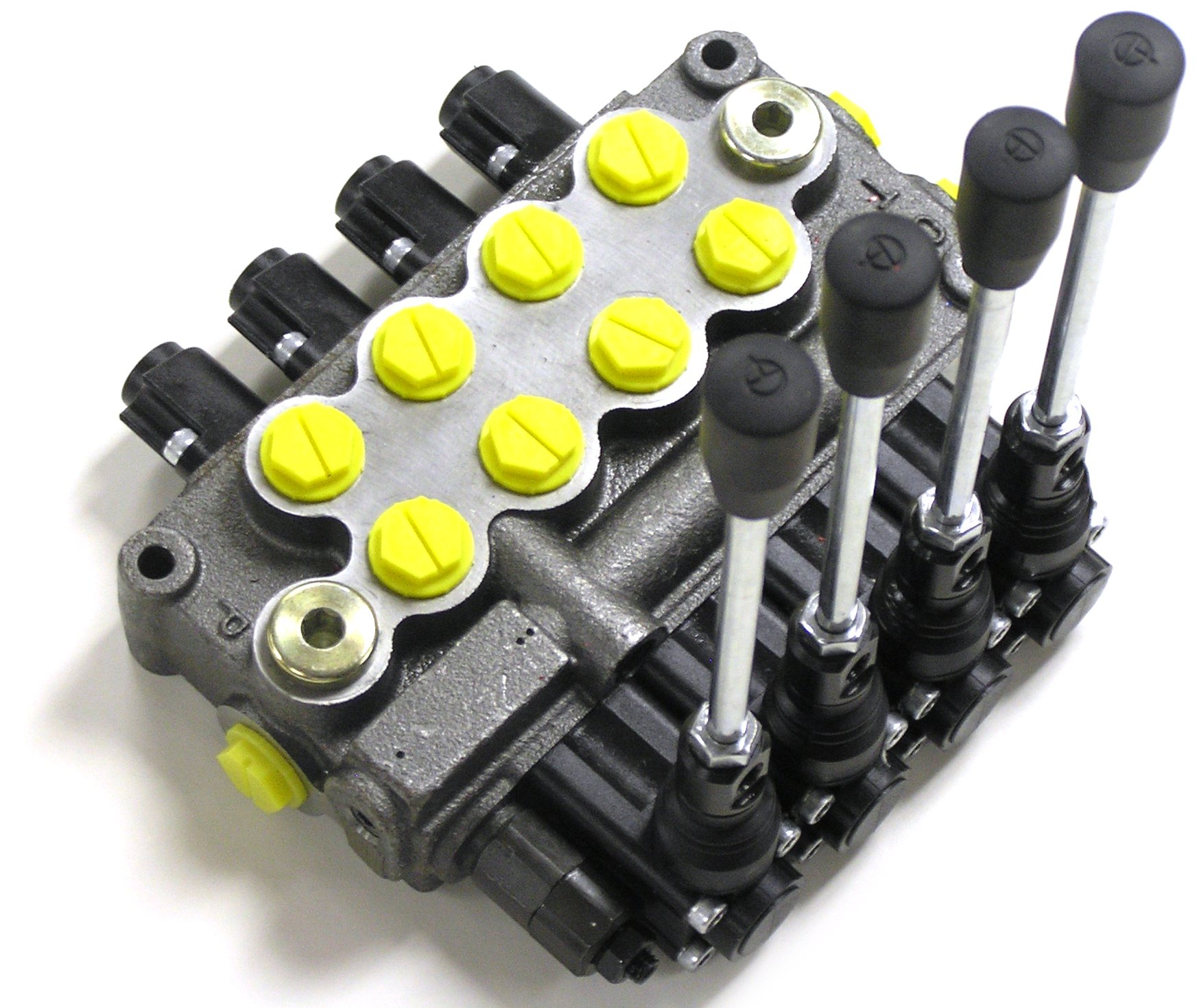 Prince WVS41BBBB5C1 Directional Control Valve, Monoblock, Cast Iron, 4 Spool, 4 Ways, 3 Positions, Single Acting Cylinder Spool, Spring Center, Lever Handle, 4000 psi, 14 gpm, #8 SAE