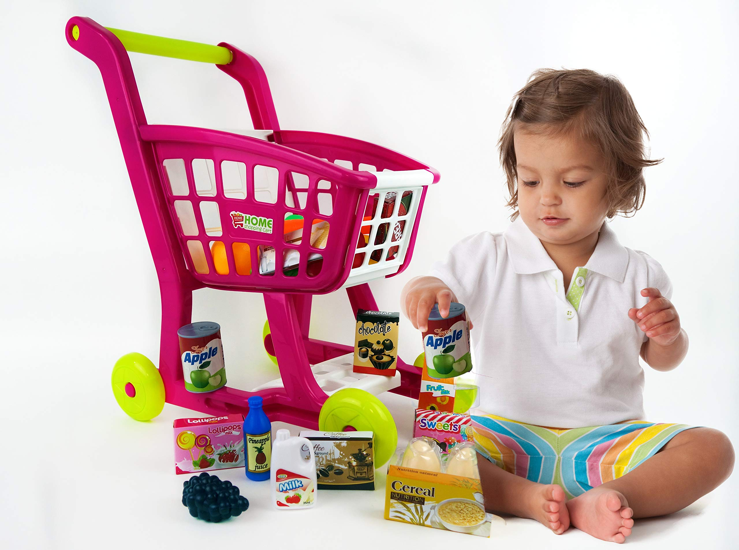 NBD Corp Kids Shopping Cart for Toy Groceries, Pink Portable Cart with 27 Pieces of Fruits, Vegetables, Food, Pretend Play Toy Grocery Cart