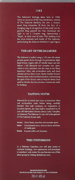 The Dalmore 12Y Whisky de Malta Escocés - 700 ml: Amazon.es: Amazon Pantry